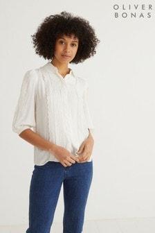 חולצה בעיטור כותנה מחוררת של Oliver Bonas עם שרוול קצר בלבן