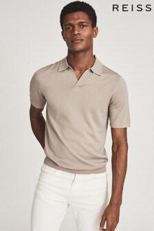 Reiss Tan Duchie Merino Wool Open Collar Polo Shirt