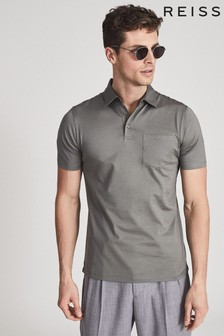 Reiss Green Elliot Mercerised Egyptian Cotton Polo Shirt