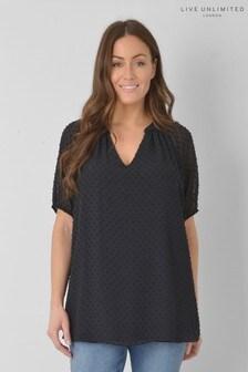 חולצה אלגנטית עם שרוולי בלוזוןמבד בעל מרקםשחור למידות גדולות שלLive Unlimited