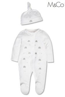 חליפת שינה וכובע בהדפס פילים של M&Co