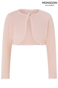 Monsoon Pink Niamh Sparkle Knitted Cardigan With Crystal Button