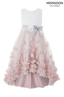 Vestido rosa con flores en3D Ianthe de Monsoon