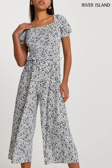 River Island White Shirred Front Jumpsuit (A12336) | $53
