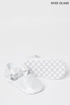 River Island White Bow Shoes