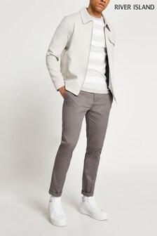 River Island Grey Smart Chino Trousers
