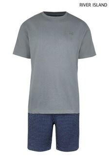 סט מכנסי אריג קצרים עם דוגמת פפיטה של River Island בכחול