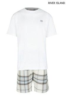 סט מכנסי אריג קצרים עם משבצות של River Island בצבע אבן