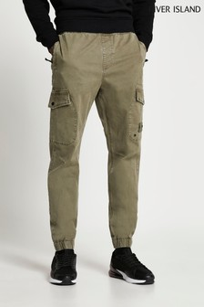 River Island Green Light Washed Cargo Trousers