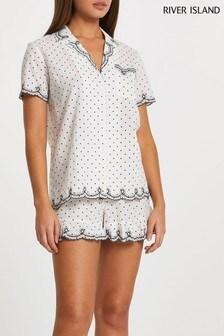 חולצת פיג'מה של River Island בצבע שמנת מאריג מנוקד עם רקמה