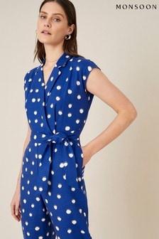 Monsoon Blue Spot Print Jumpsuit In Linen Blend (A19342)   $97