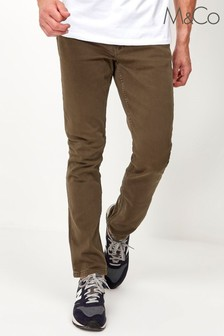 M&Co Mens Green Twill Trousers