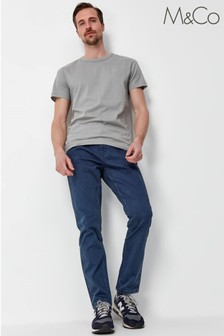 M&Co Mens Blue Twill Trousers