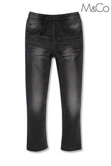 M&Co 大男孩灰色鬆緊帶牛仔褲