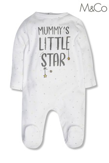 M&Co White Mummy's Little Star Sleepsuit