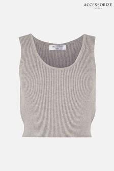 חולצת בטן מבד ריב סרוג של Accessorize באפור