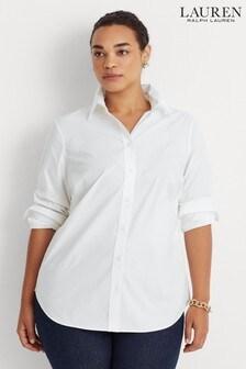 חולצה סטרצ'ית מסדרת Curve של Lauren Ralph Lauren דגם Jamelko בלבן