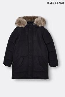 Черная дутая куртка River Island Alfie