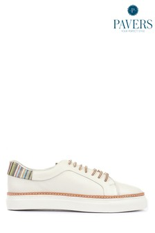Pavers Mens White Leather Lace-Up Trainers