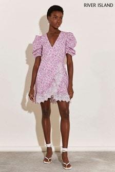 River Island Bright Pink Floral Wrap Mini Wrap Mini Dress