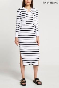 River Island Black Stripe Midi Dress Cardigan Set