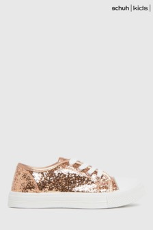 Schuh Pink Majestic Glitter Lace Trainers