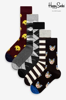 Pack de 5 pares de calcetines con diseño de perros y gatos de HS by Happy Socks
