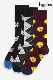 Pack de 3 pares de calcetines con diseño de gatos y perros de HS by Happy Socks