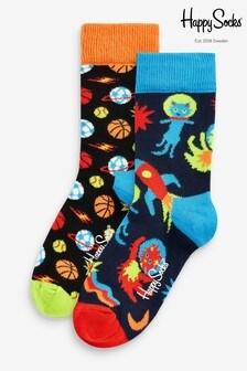 Happy Socks Kids Blue Spacetime Socks 2 Pack