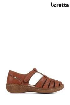 Loretta Tan Ladies Leather T-Bar Sandal Shoes