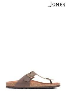 Jones Bootmaker Brown Woodside Men's Leather Toe Post Sandals