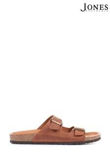Jones Bootmaker Brown Woolwich Men's Leather Dual Strap Mule Sandals