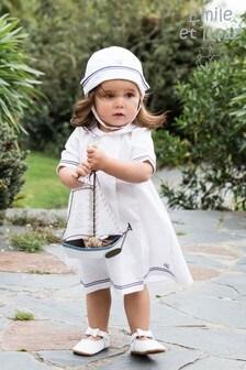 Emile et Rose White Linen Sailor Style Dress & Hat