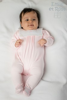 Emile et Rose Pink All-In-One With Embroidered Bib