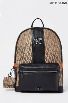 River Island Brown/Amber Jacquard Nylon Backpack