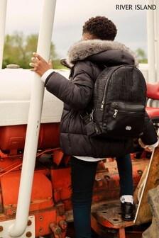 River Island Black Nylon Monogram Backpack