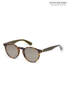 Scotch And Soda Tortoiseshell Brown Acetate Round Eye Sunglasses