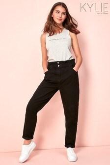 Kylie少女黑色紙袋媽媽款牛仔褲