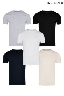 River Island Pink Muscle Fit 5 pack T-Shirts