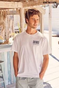 Animal White Wave Rider Organic Mens T-Shirt