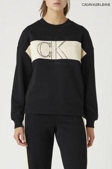 Calvin Klein Jeans Black Monogram Colourblocking Sweatshirt