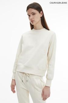 Calvin Klein Jeans Cream Off Placed Monogram Crew Neck Sweatshirt