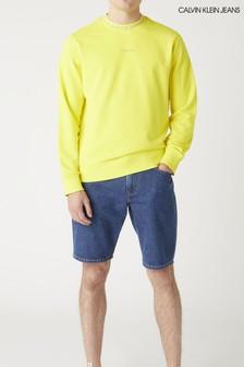 Желтый жаккардовый джемпер с круглым вырезом и логотипом Calvin Klein Jeans