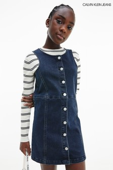 فستان دينيم أزرار أزرق من Calvin Klein Jeans