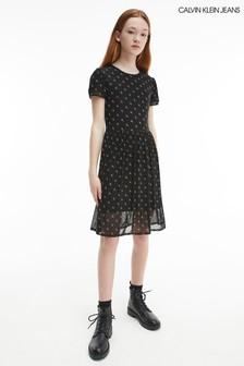 فستان شبكي بالحروف الأولى الصغيرة أسود من Calvin Klein Jeans