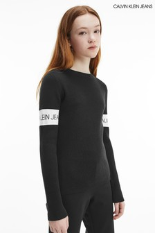 Черный джемпер в рубчик с вывязанным логотипом Calvin Klein Jeans
