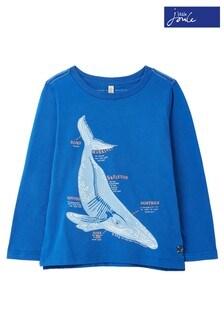 Niebieska koszulka z długim rękawem i nadrukiem Joules Finlay