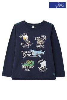Niebieska koszulka z nadrukiem świecącym w ciemności Joules Raymond