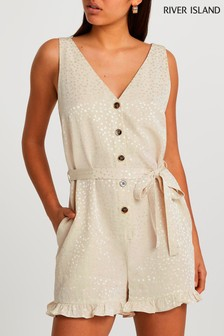 River Island Stone Sleeveless Jacquard Button Frill Playsuit (A29936) | $53