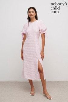 Nobody's Child Pink Textured Gingham Esme Midi Dress